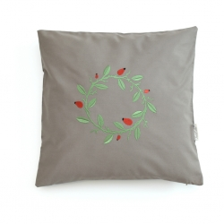 pillow case, cinder, dog rose wreath