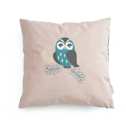 pillow case, pink/black, owl