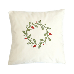 pillow case, natur, dog rose wreath